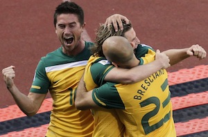 Socceroos celebrate their goal against Ghana at the World Cup